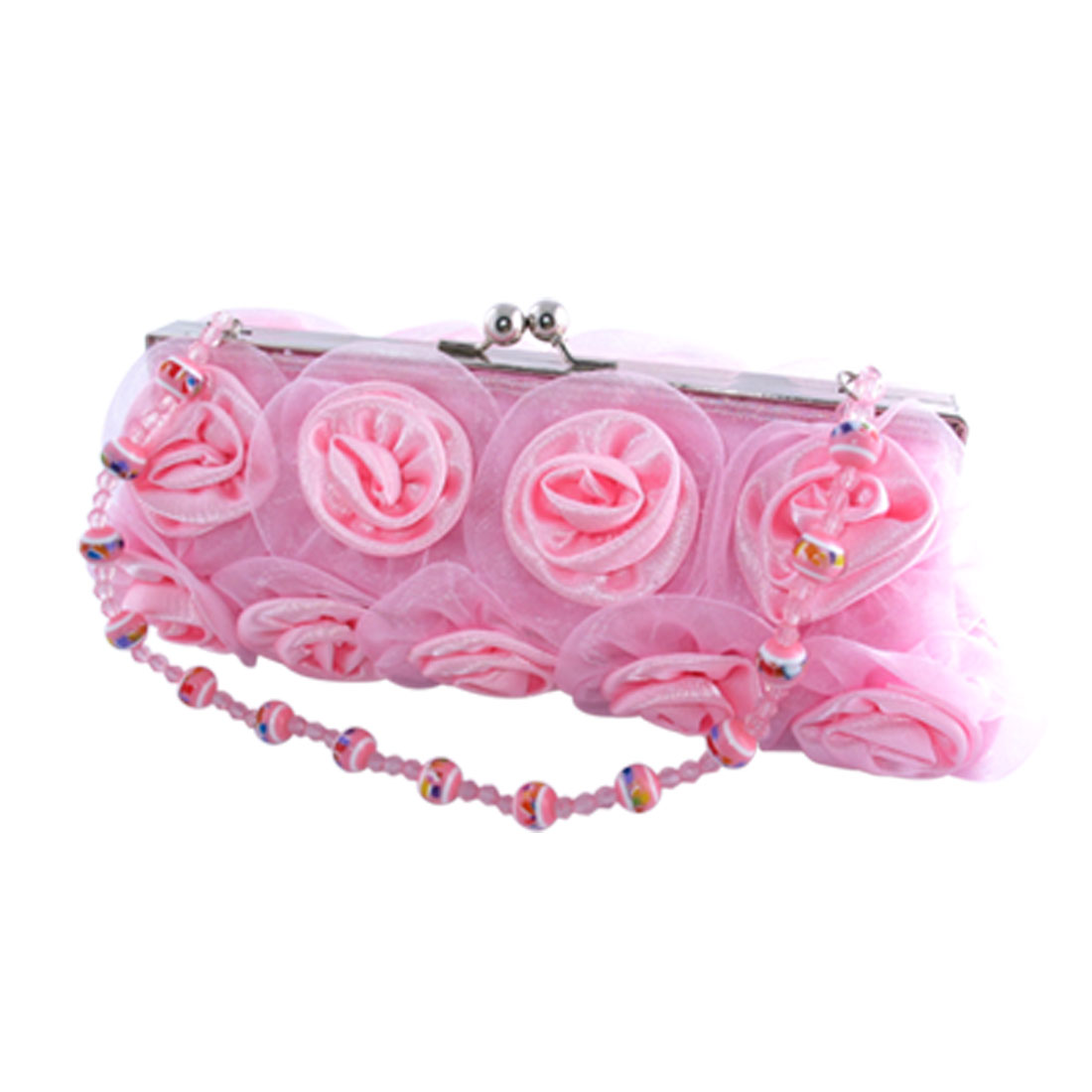 "Fashion Pink Rose Clutch Purse Bag ""Romantic"" 001"