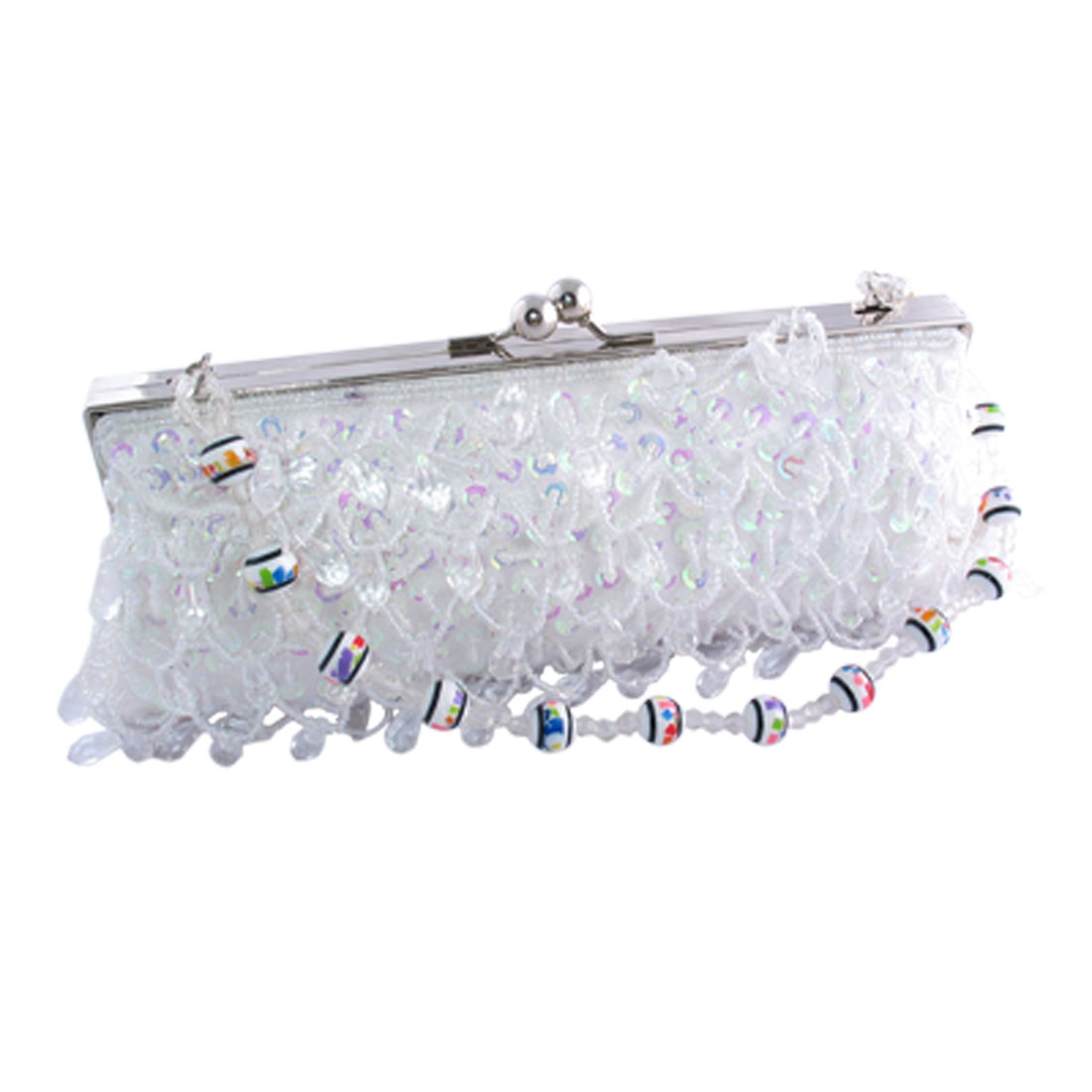 "Fashion Chic White Crystal Purse Bag ""Romantic"" 002"