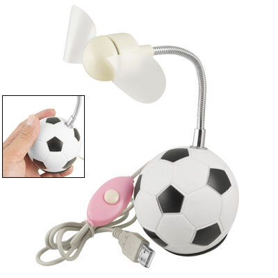 Black White Football Soccer Base Mini USB Fan w Button Switch