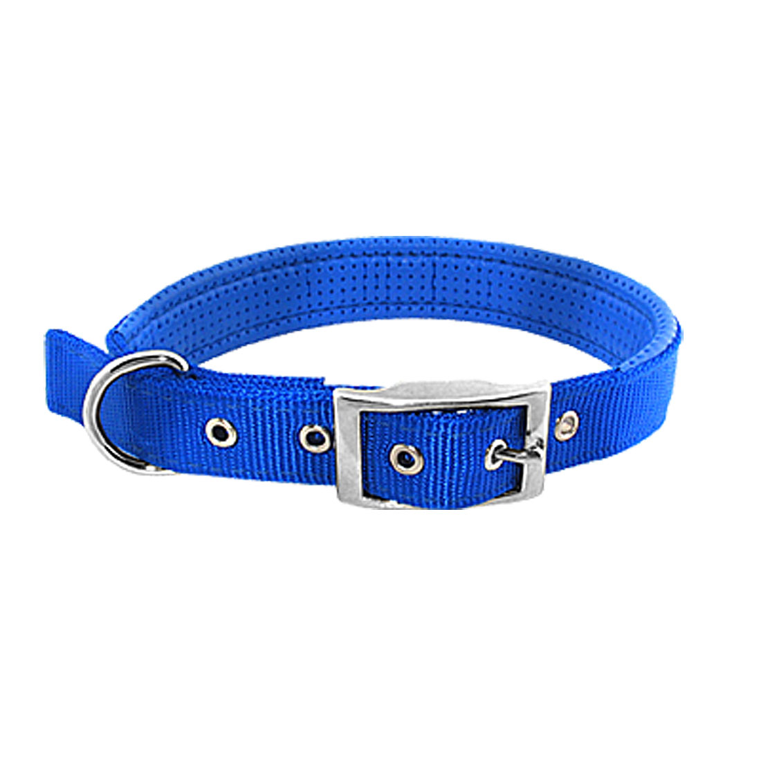 Tropical Blue Soft Leather High Strength Nylon Dog Collar Strap - Large Size