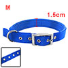 Tropical Blue Soft Leather High Strength Nylon Dog Collar Strap - Medium Size