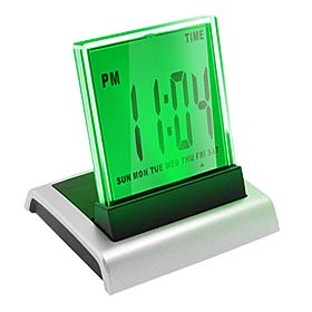 Charming Desktop Alarm Clock with Calendar Temperature Light (Model: HSD110A) Silver
