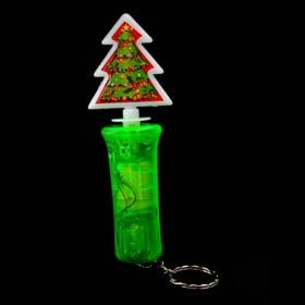 Mini Key Ring LED Flashlight Spin Christmas X'mas Tree - Green