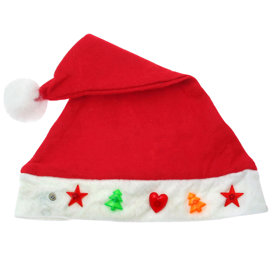"X'mas Christmas Santa Claus Hat with Heart & Trees Flashlight 15"" - Red"