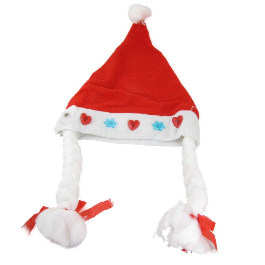 X'mas Christmas Heart Snowflake Flashlight Santa Claus Hat w Braid Red White