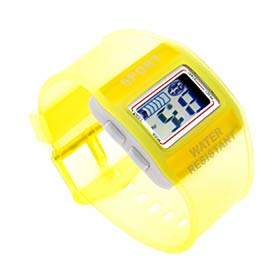 Electronic Waterproof Sport Watch w/ Light - Yellow