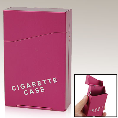 TRAVEL Aluminum Hard Cigarette Case Box 20 Cigarettes - Red