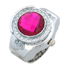 Rose Pink Simulated Crystal Diamond Ring Jewelry Watches Quartz Clocks