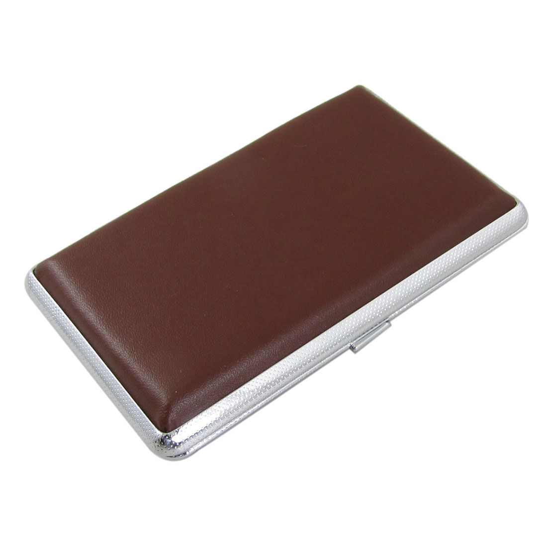 Classical Brown Faux Leather Covered Box Case Holder for 10 Cigarettes