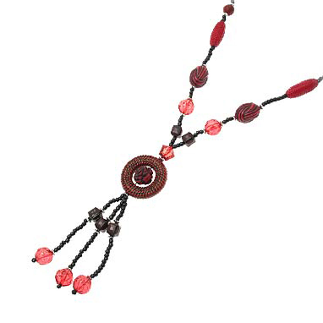 Fashion Jewelry Freshwater Black Pearls Necklace with Red Crystal