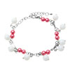 Fashion Jewelry White & Red Simulated Pearls On The Silver Chain