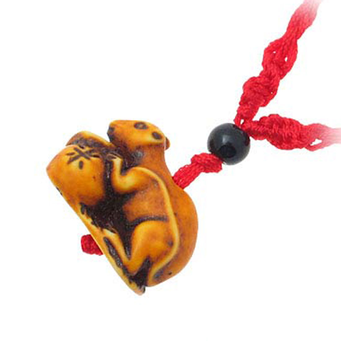 Fashion Kangaroo Hold Foison Rice Yellow Pendant Red Cord Necklace