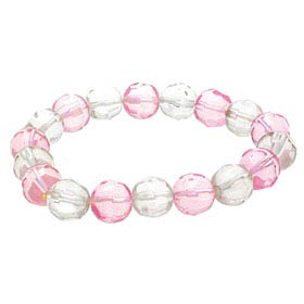 "Fashion Jewelry ""Modern"" Crystal Beads Bracelet - Pink&White"
