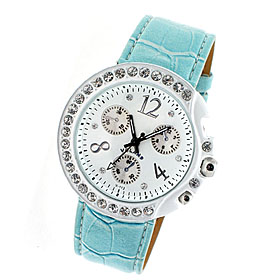 Fashion Crystal on the Stainless White Metal Watchcase Audi Chronograph Wrist Watch-Blue