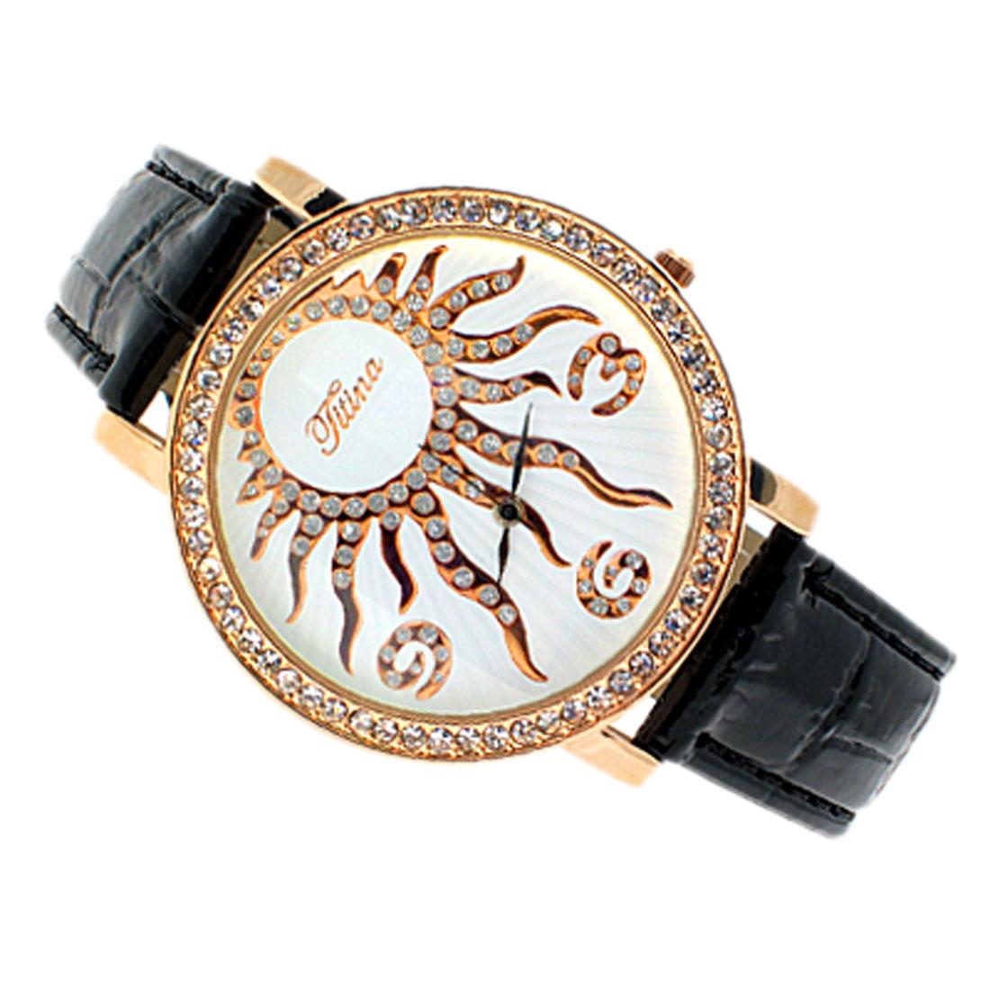 Fashion Faux Black Leather Wrist Sun Quartz Watch