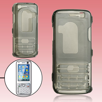 Crystal Plastic Hard Cover Case w/ Protective Keypad for Nokia N73 - Transparent Black