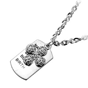 Fashion Jewelry Round Cross with Cool Tag Silver Metallic Necklace