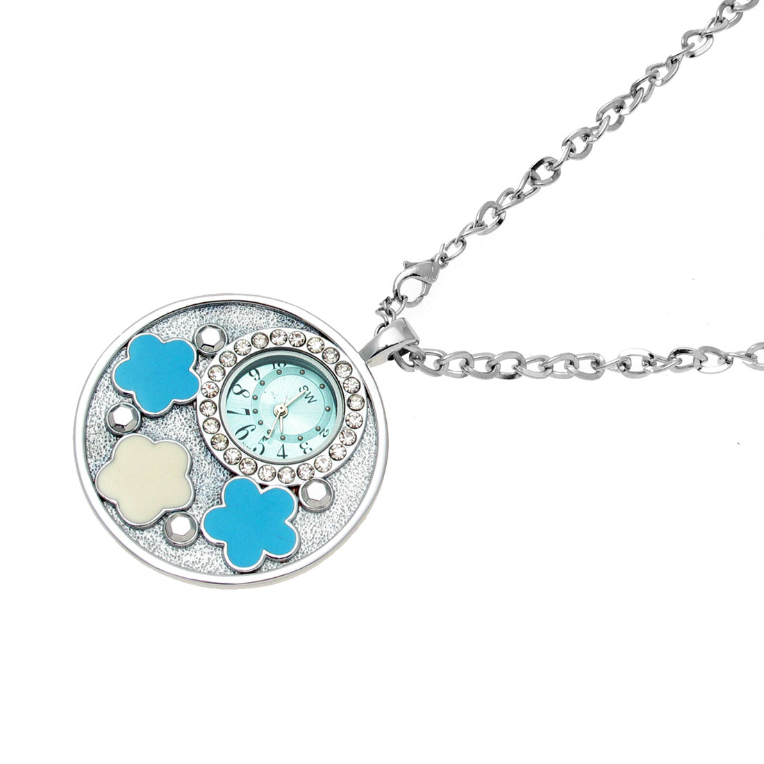 Fashion Jewelry Necklace Stainless Quartz Clock Watch w/Flower
