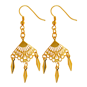 Fashion Jewelry Sector Dangle Earrings-Golden