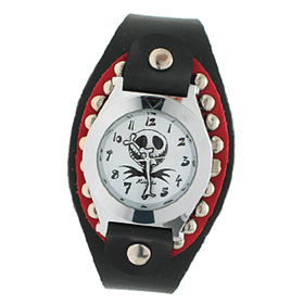 Fashion Jewelry Quartz Wrist Watches Black Leather Armband