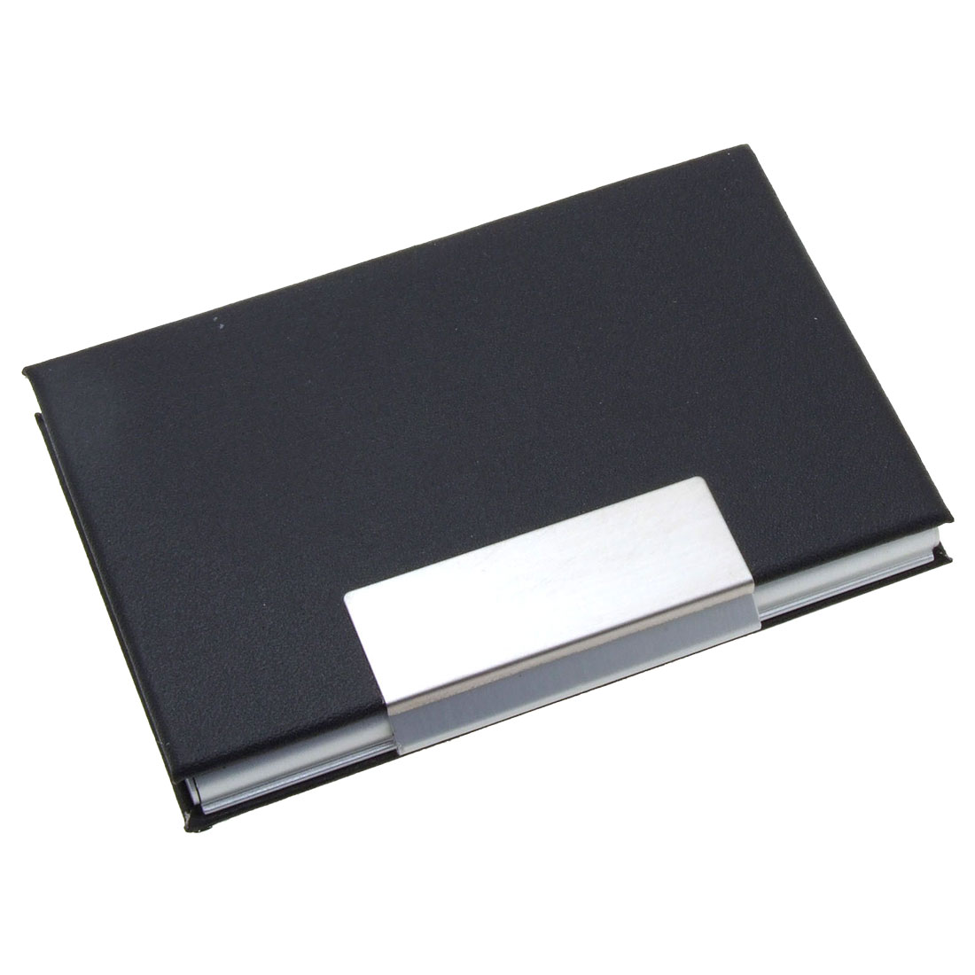Stylish Metal Business Cards/Magnet Card/ ID Card Holder Case Coated Leather Black
