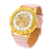 Pink Faux Leather Strap Quartz Watch with Yellow Round Case