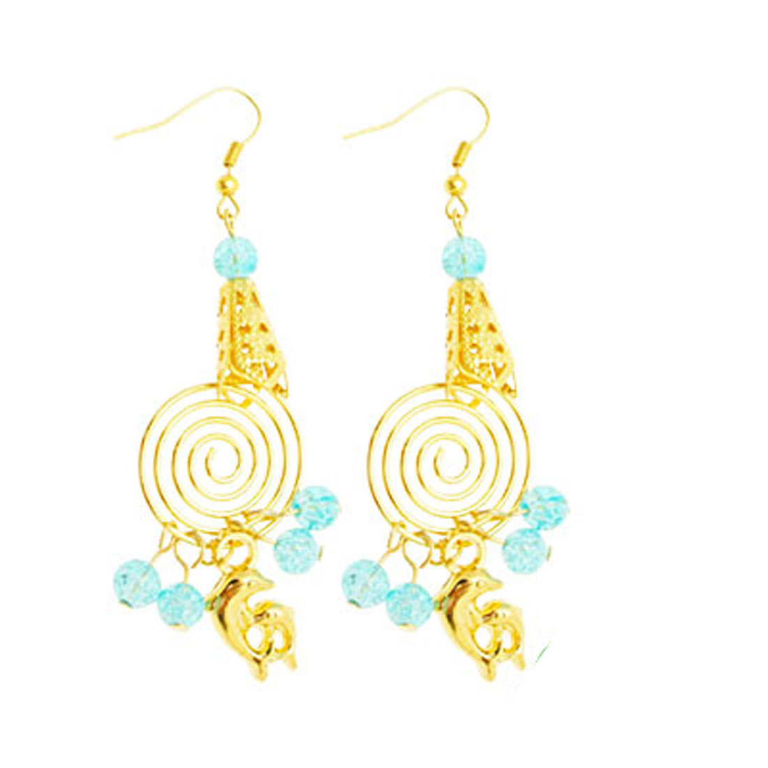Fashion Jewelry Artsy Handcraft Spiral with Dolphin Pendant Earrings
