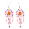 Fashion Jewelry Artsy Handcraft Pink Beads Earrings