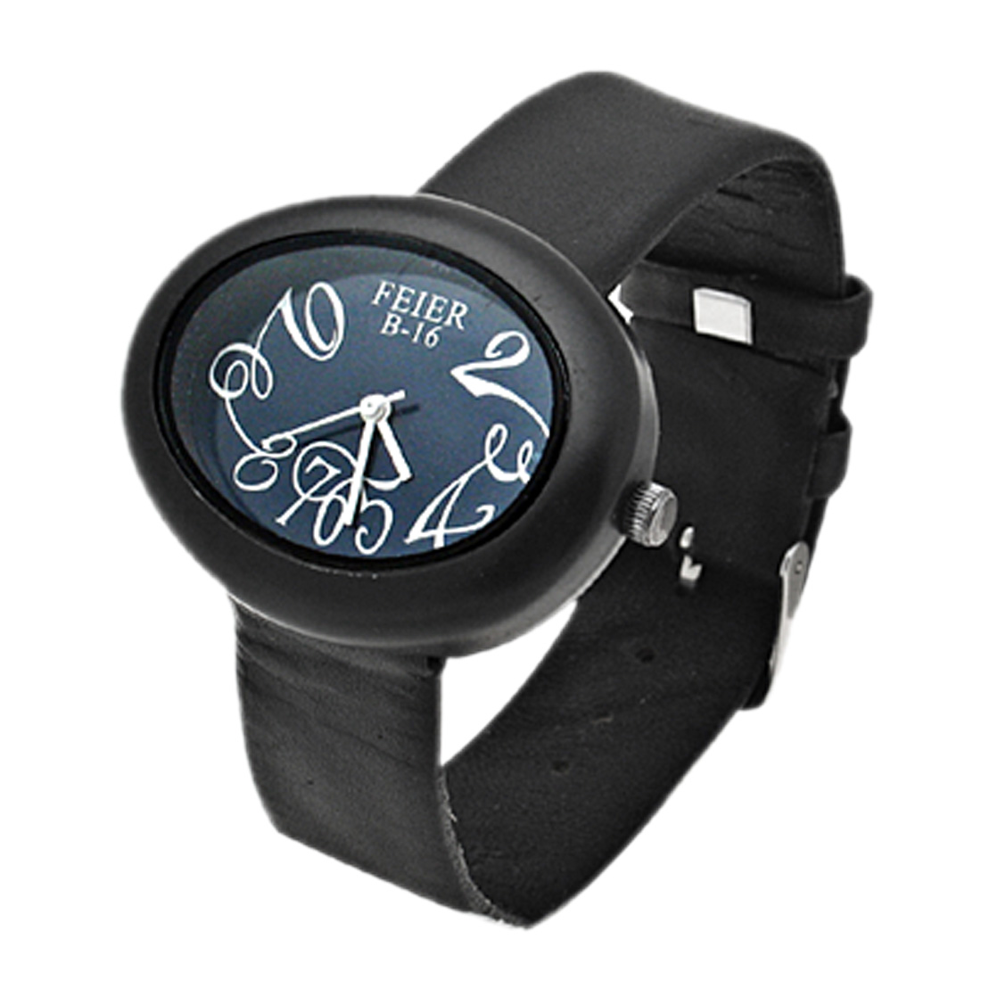 Fashion Jewelry Faux Black Leather Ellipse Wrist Quartz Watch (B-16)