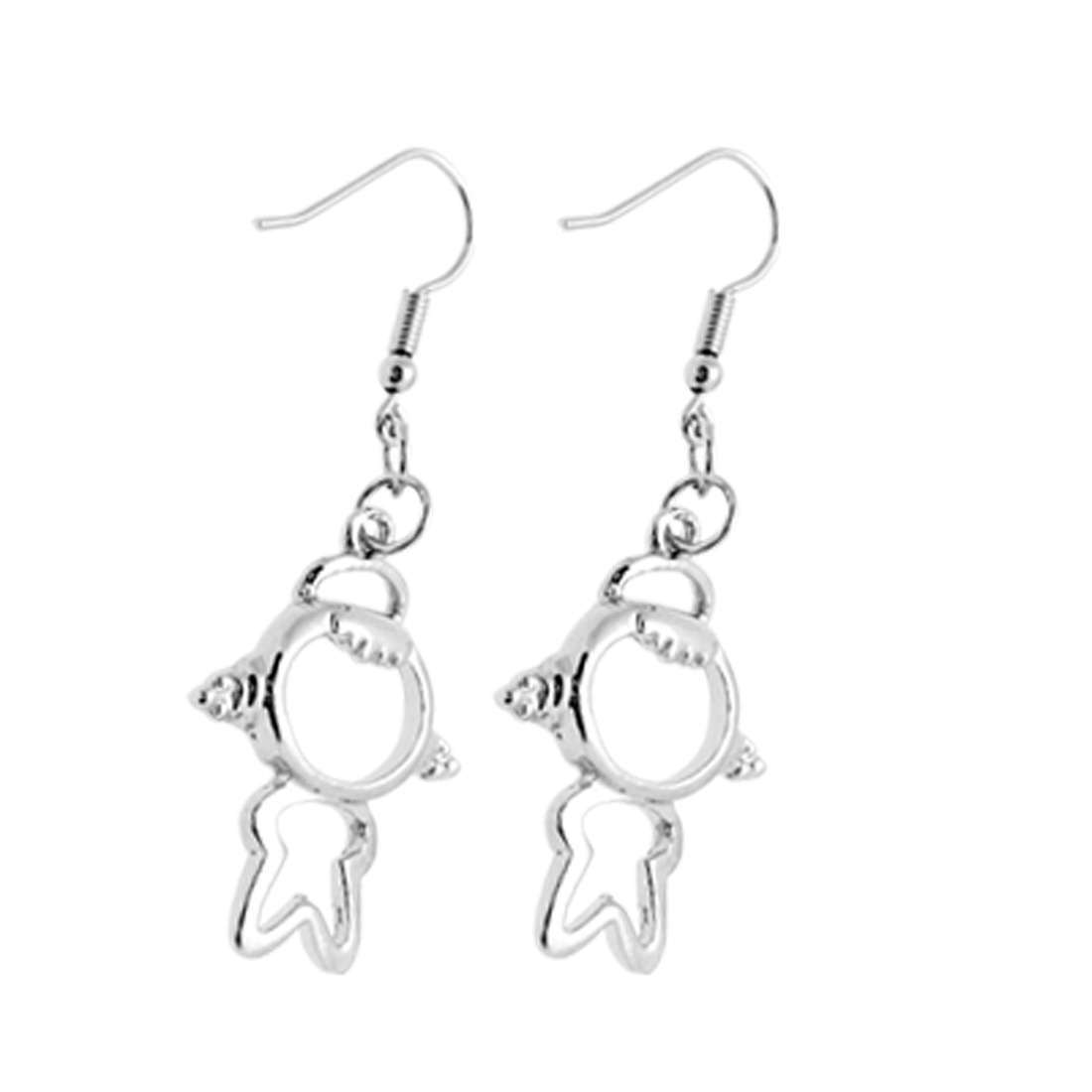 "Fashion Jewelry Silvery ""Girl"" Pendant Earrings"