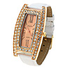 Fashion Jewelry White Faux Leather Wrist Quartz Watch- Golden Watchcase