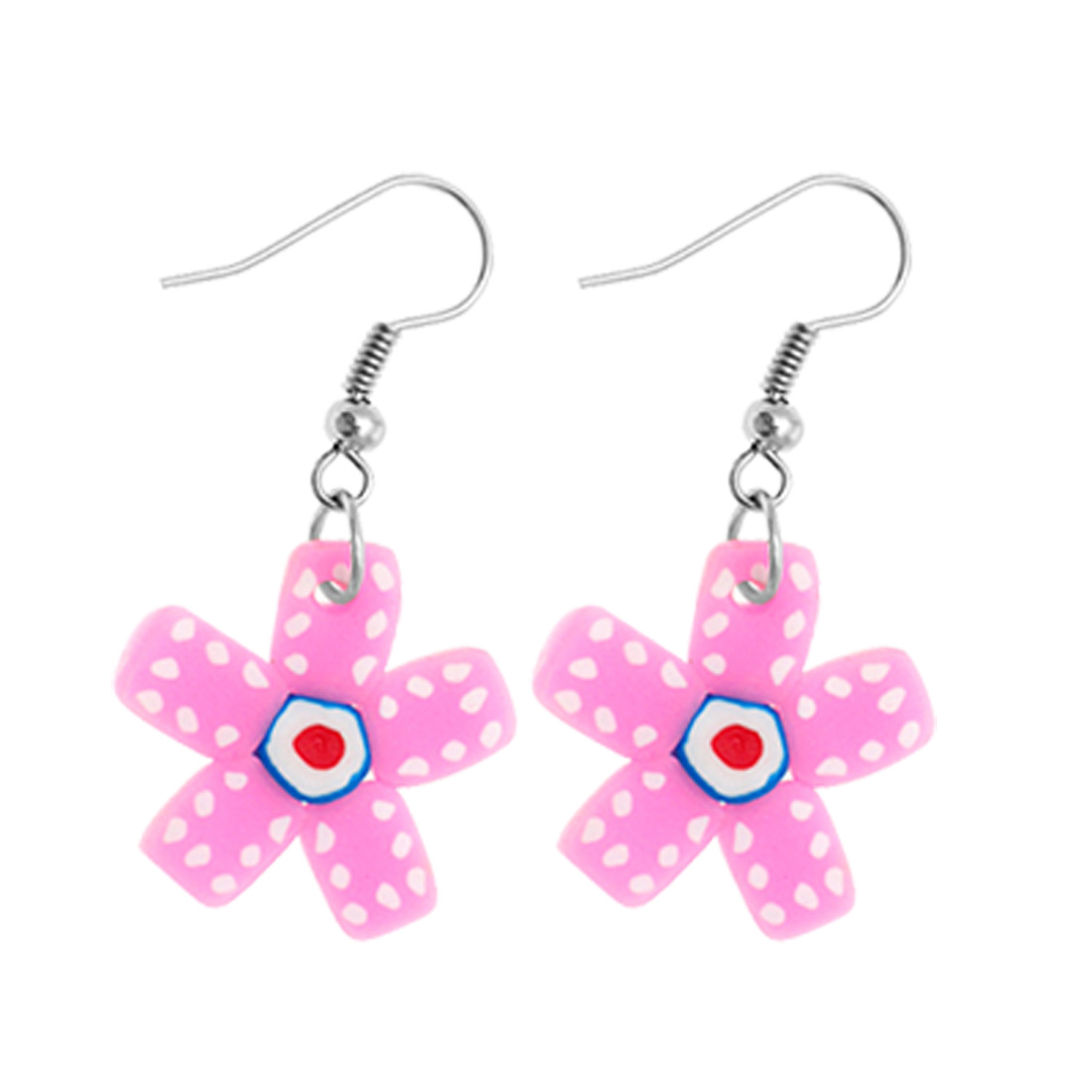 Fashion Jewelry Unique Handcraft Soft Argil Pink Winnower Flower Earrings