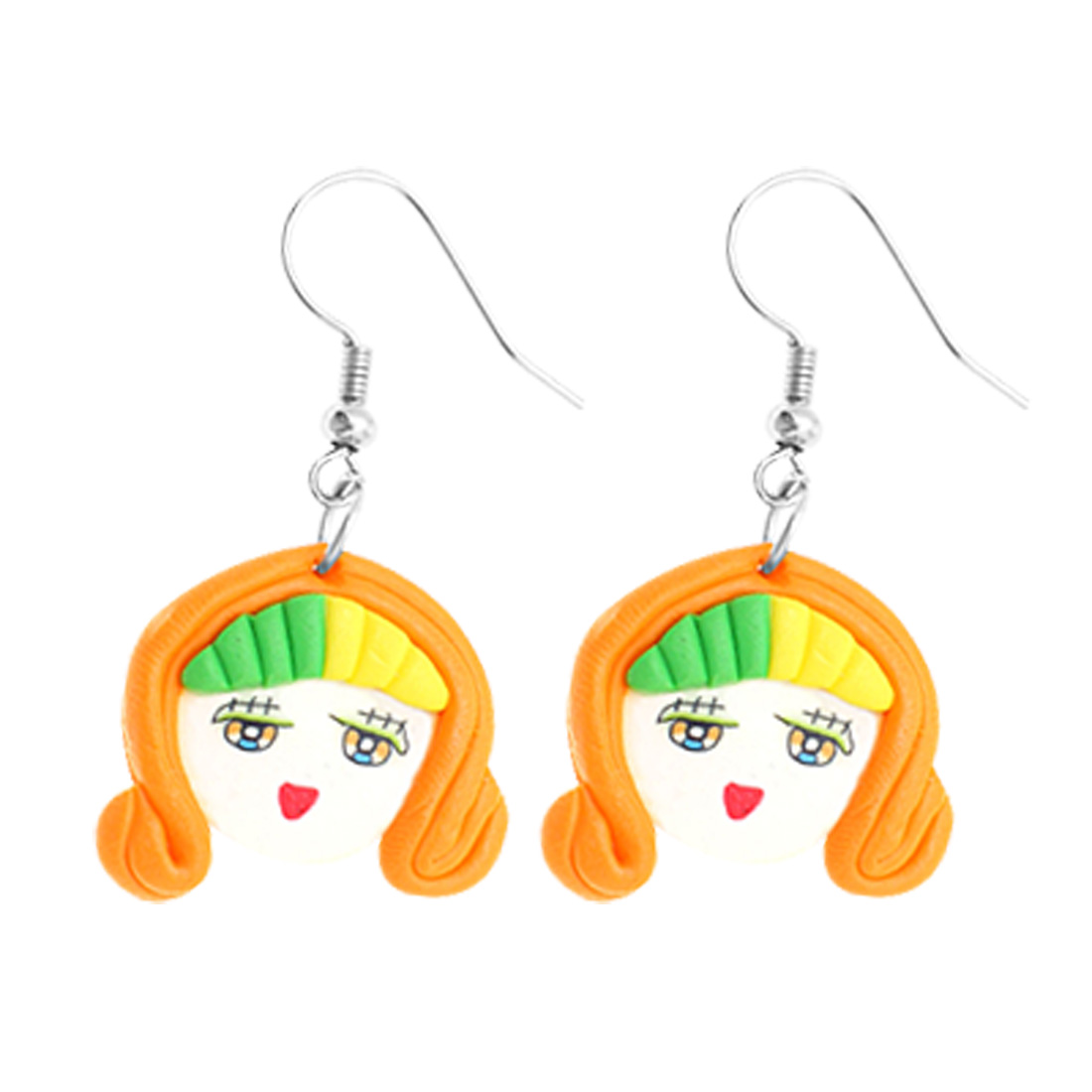 Fashion Jewelry Unique Handcraft Soft Argil Cute Doll Pendent Earrings-Orange
