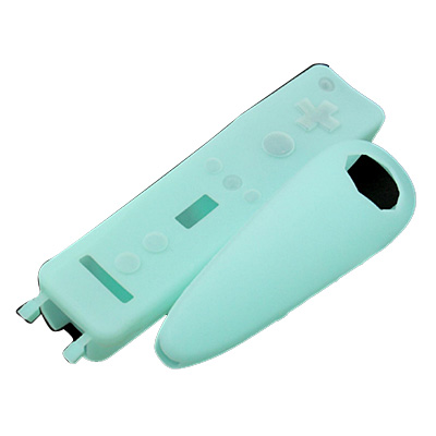 2 Silicone Skin Case Cover for Wii Remote Control & Nunchuk - Green