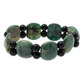 Fashion Jewelry Semicircular Simulated Dark Green Agate Stretch Bracelet