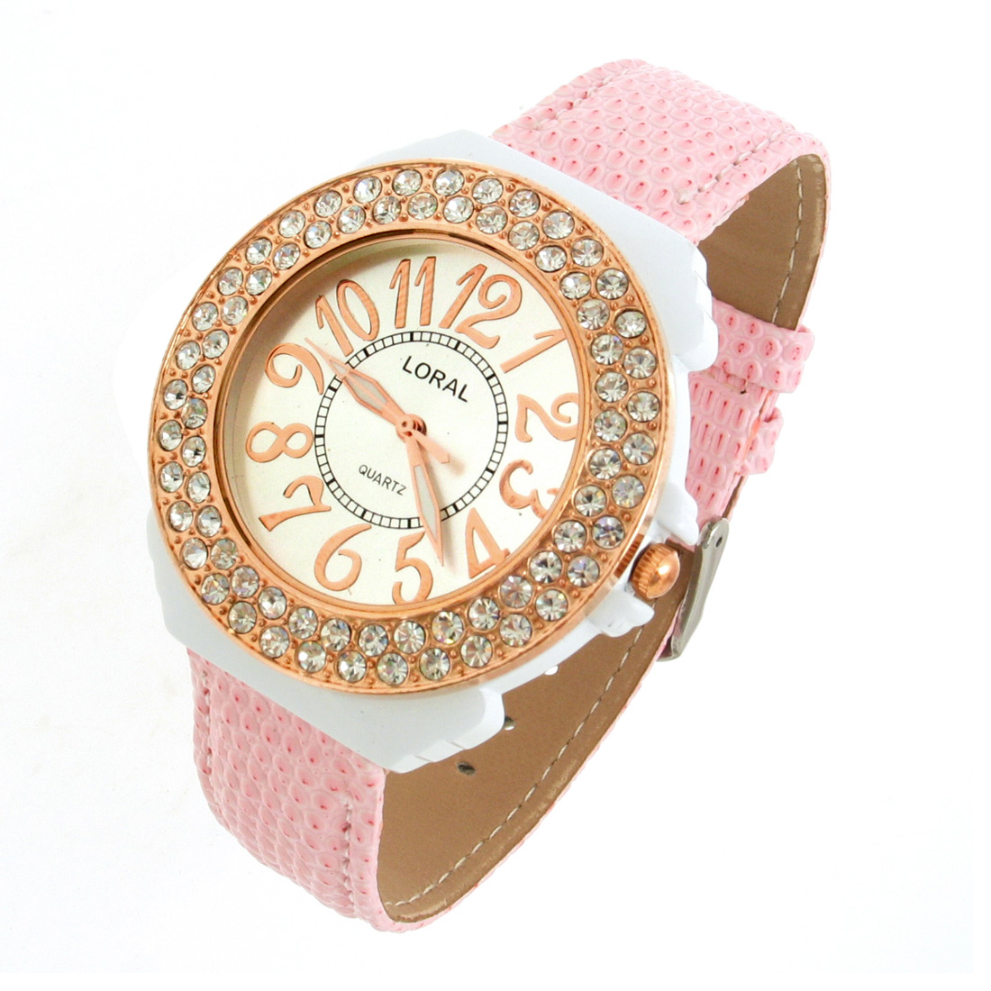 Fashion Jewelry Pink Faux Leather Wrist with Crystal Style Watchcase Quartz Watch