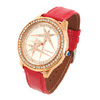Fashion Faux Leather Wristwatch w/ Crystal Beads - Red