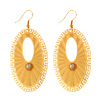 Fashion Jewelry Golden Ellipse Inlay White Crystal Earrings