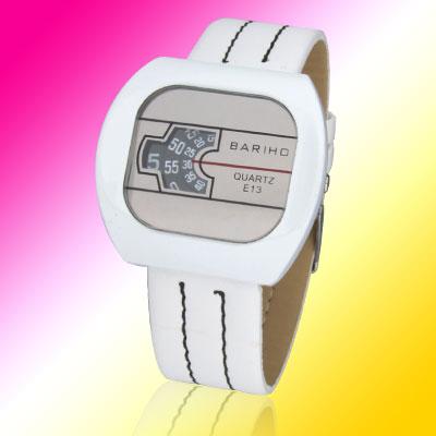 Fashion Novelty White Ladies Quartz Wrist Watches - Black Inside(Bigger one)