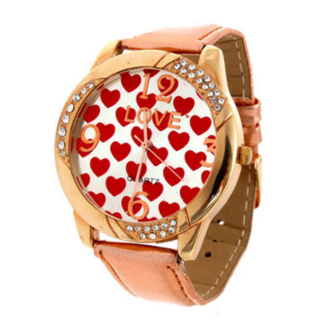 Fashion Jewelry Red Hearts Love Quartz Wrist Time Watch