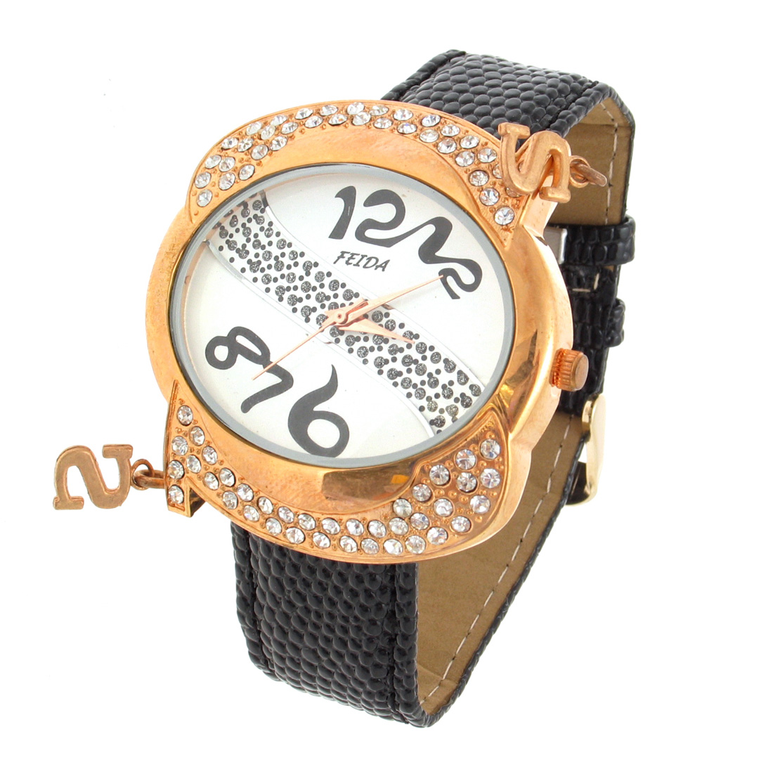 "Fashion Jewelry ""S"" Quartz Wrist Watch -Black"