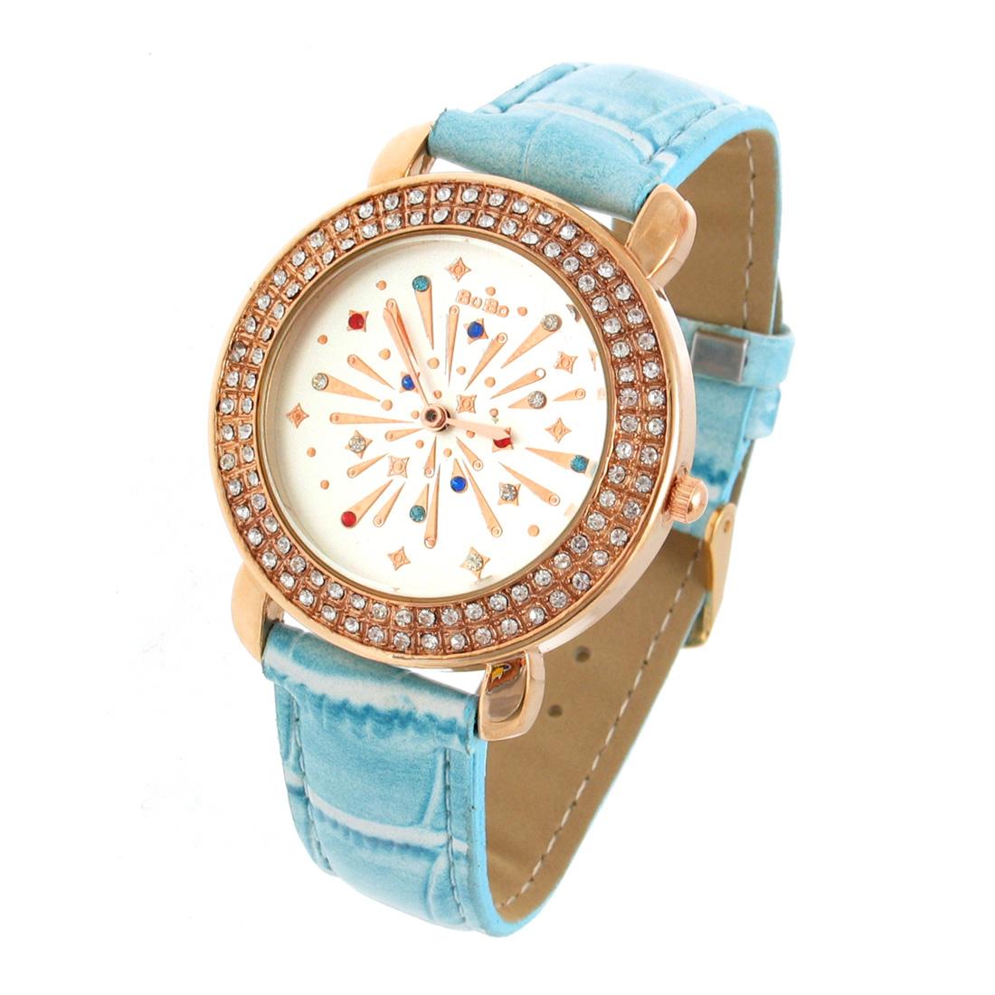 Fashion Jewelry with Crystal Style Plated Quartz Wrist Watch - Blue Wristband