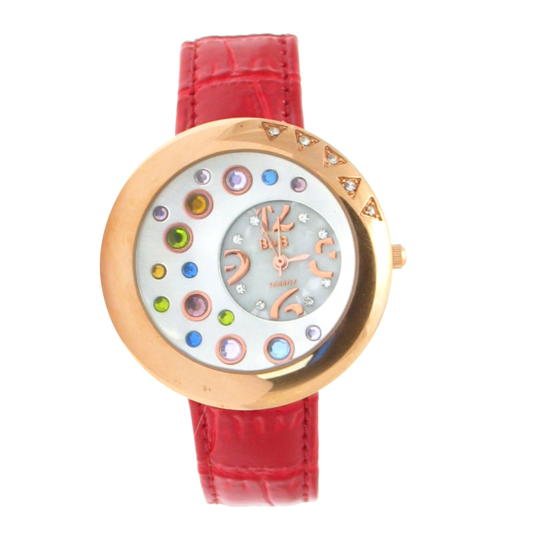 Fashion Jewelry GOLDENen Watchcase with Colorful Crystal Style Quartz Wrist Watch - Red Wristband