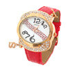"Fashion Jewelry ""S"" Quartz Wrist Watch -Red"