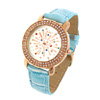New Crystal Plated Quartz Wrist Watch Blue Wristband