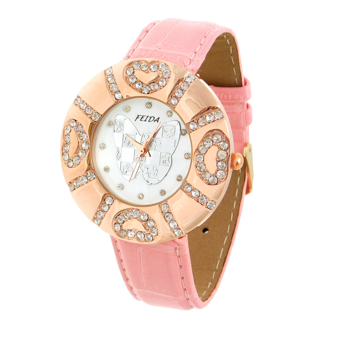 Radiant Love Butterfly Crystal Pink Strap Quartz Watch