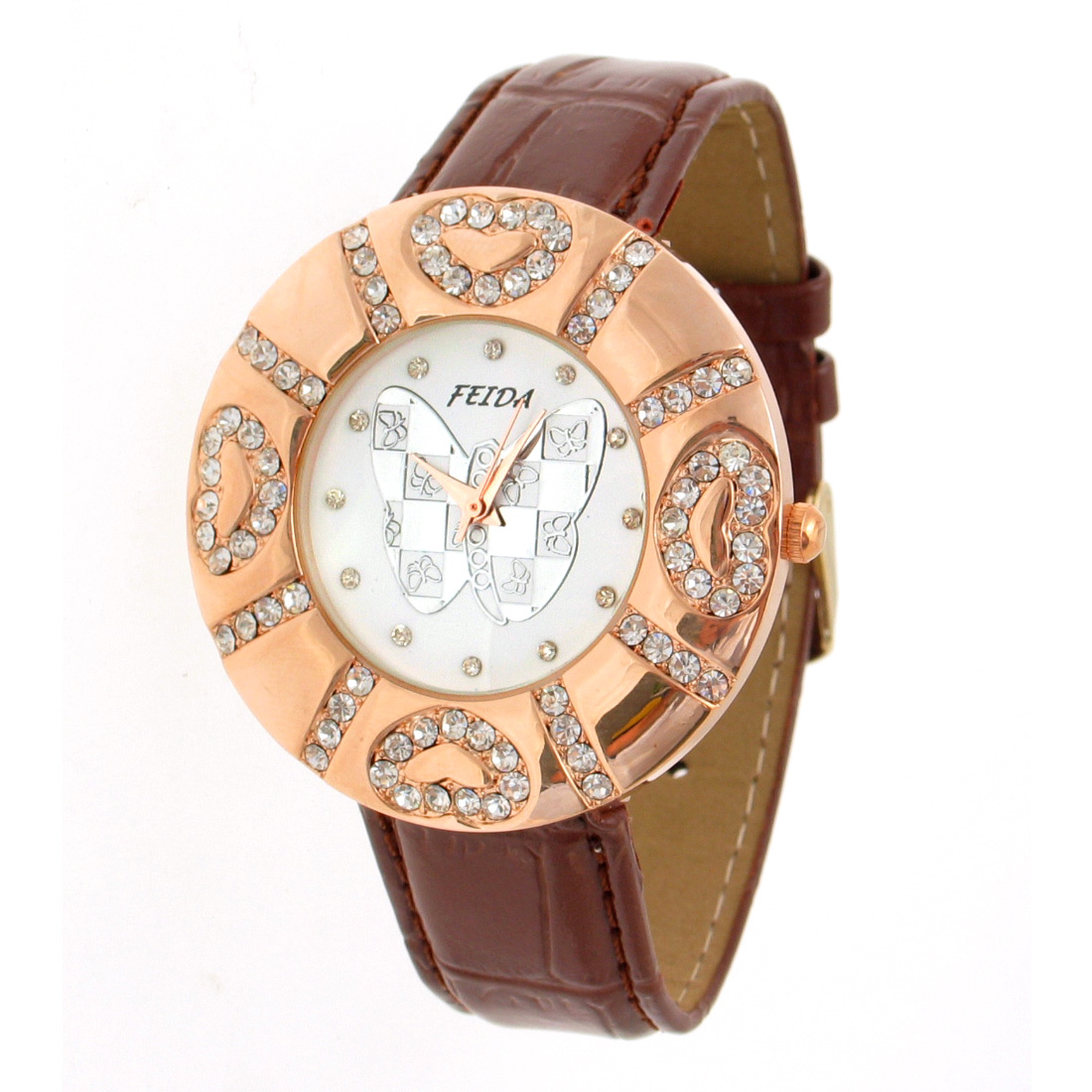 Fashion Jewelry Brown Faux Leather Strap Round Watchcase Quartz Watch
