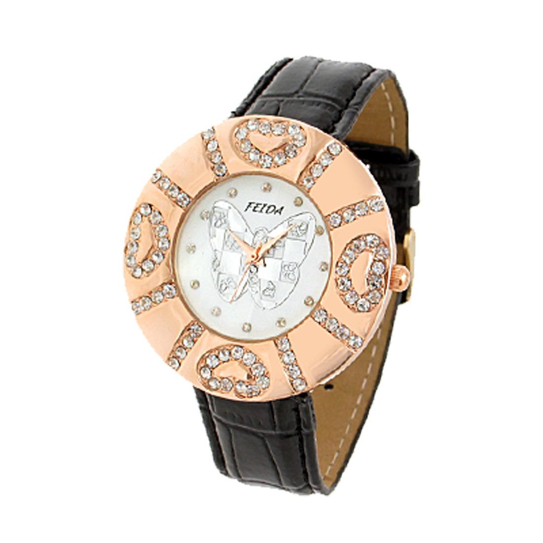 Fashion Jewelry Women Quartz Wrist Watches With Black Faux Leather Strap Round Watchcase