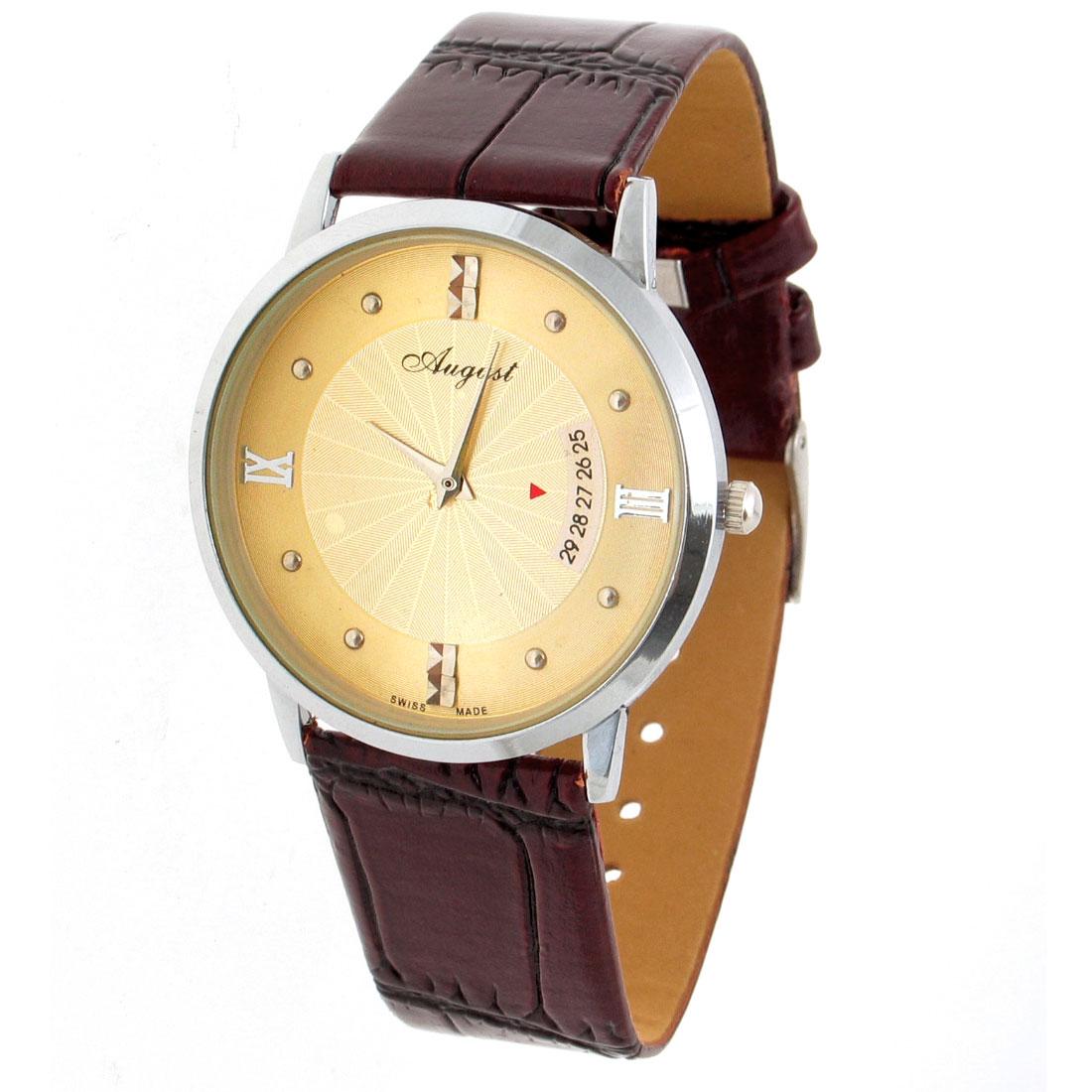 Classic Women Quartz Wrist Watches With Carmine Faux Leather Strap Golden Color Dial
