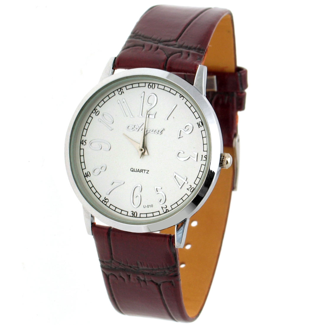 Fashion Elegant Carmine Faux Leather Strap Silver Plated Dial Quartz Wrist Watches
